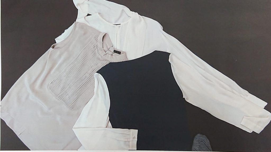 シルクを使ったシャツなどトップス類です。